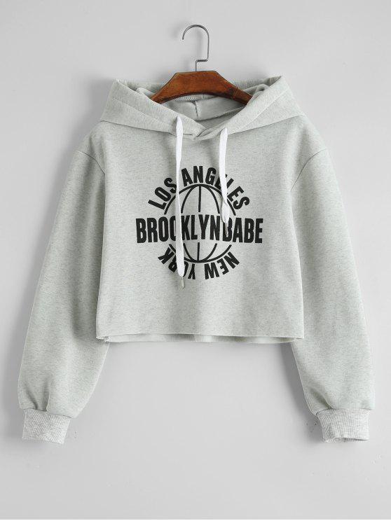 fe6bb7b7fe20 30% OFF  2019 Los Angeles Graphic Cropped Hoodie In LIGHT GRAY