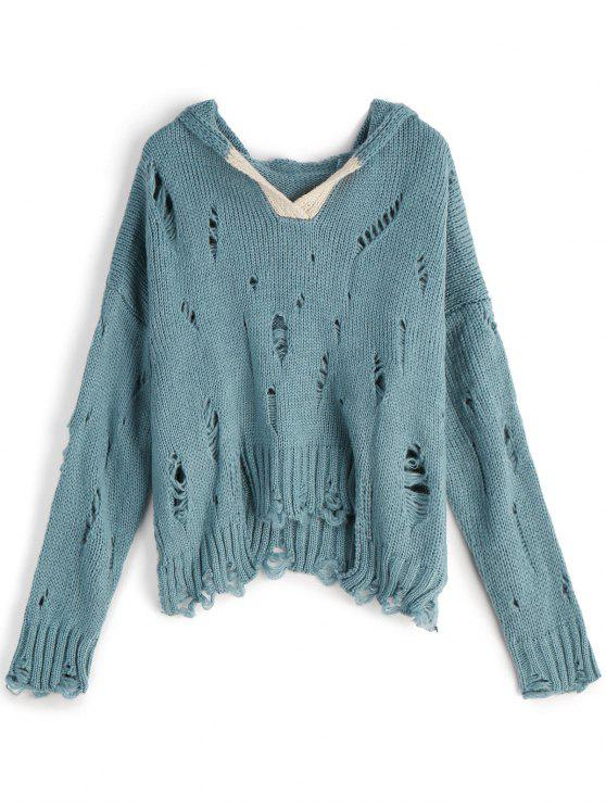 lady Hooded Oversized Ripped Sweater - LAKE BLUE ONE SIZE