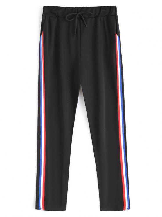 unique Drawstring Stripe Running Pants - BLACK ONE SIZE