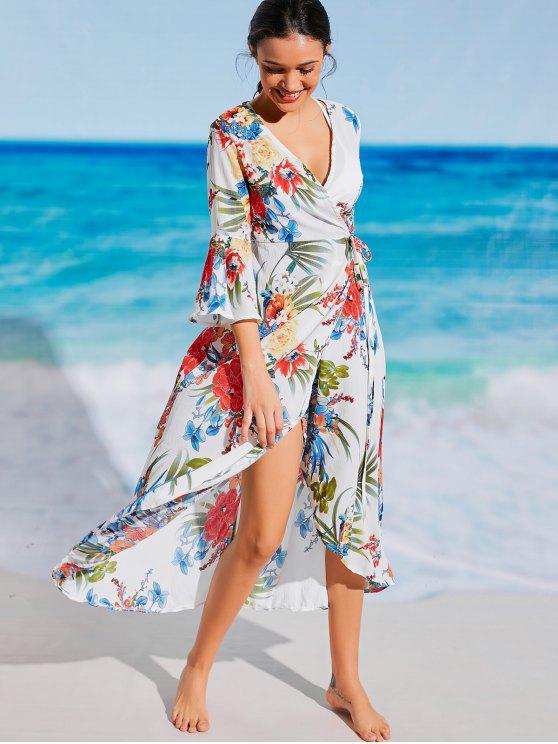 affordable Floral Bohemian Wrap Beach Dress - WHITE L