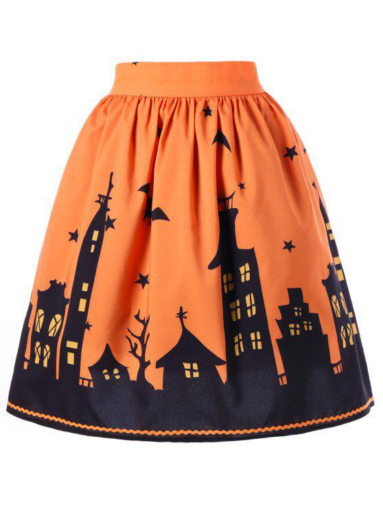 trendy Halloween Graphic A-line Skirt - ORANGE 2XL