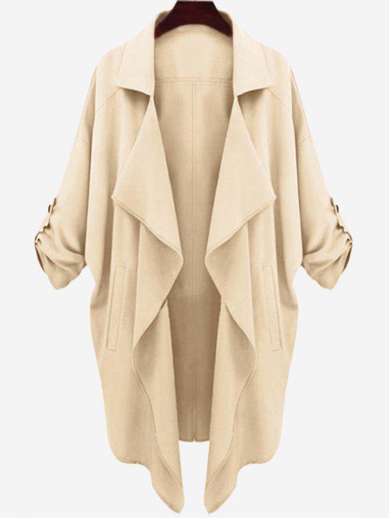 معطف الخندق انخفاض الكتف غير متماثل - مشمش XL