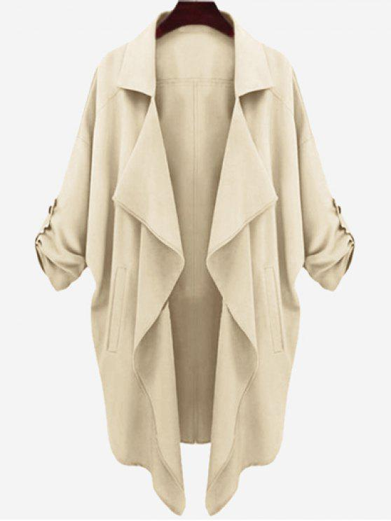 lady Drop Shoulder Asymmetric Draped Trench Coat - LIGHT KHAKI L