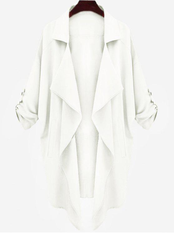 trendy Drop Shoulder Asymmetric Draped Trench Coat - WHITE S