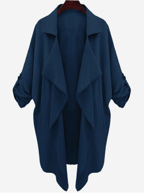 trendy Drop Shoulder Asymmetric Draped Trench Coat - CERULEAN M
