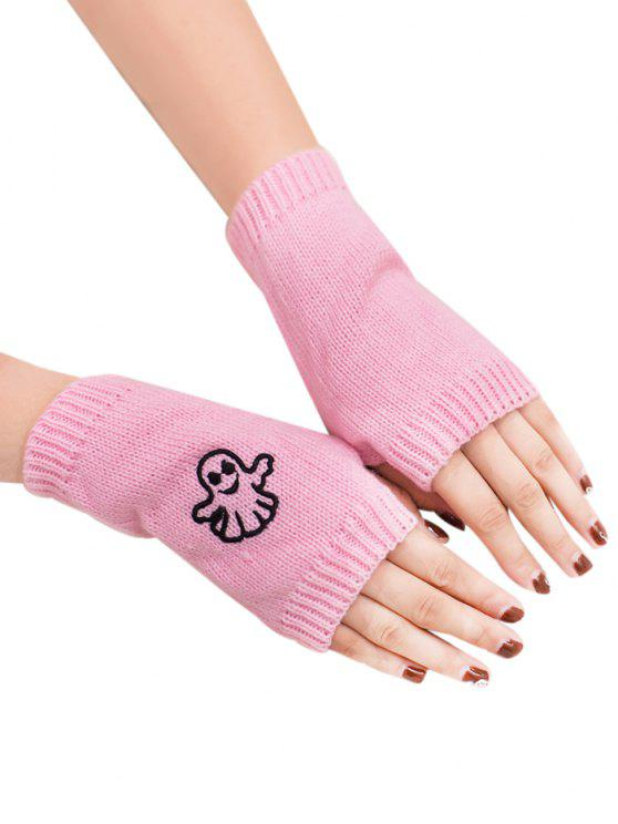 shop Halloween Ghost Fingerless Knitted Gloves - PINK