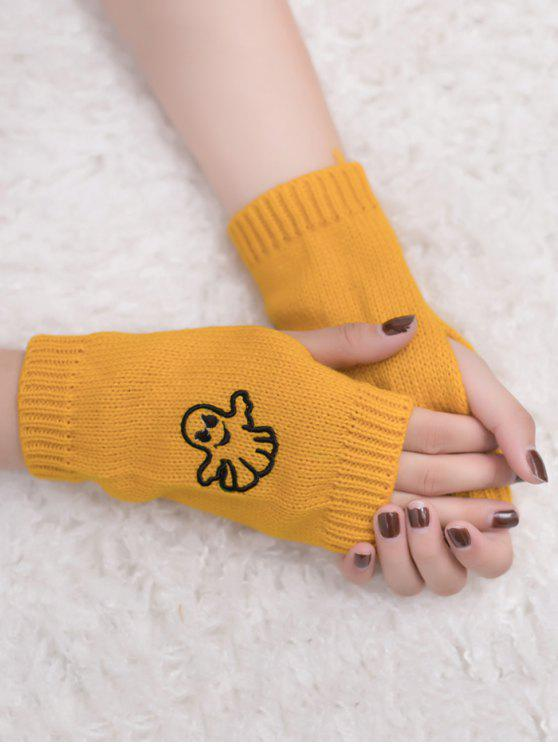 latest Halloween Ghost Fingerless Knitted Gloves - YELLOW