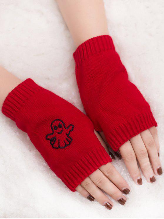trendy Halloween Ghost Fingerless Knitted Gloves - RED