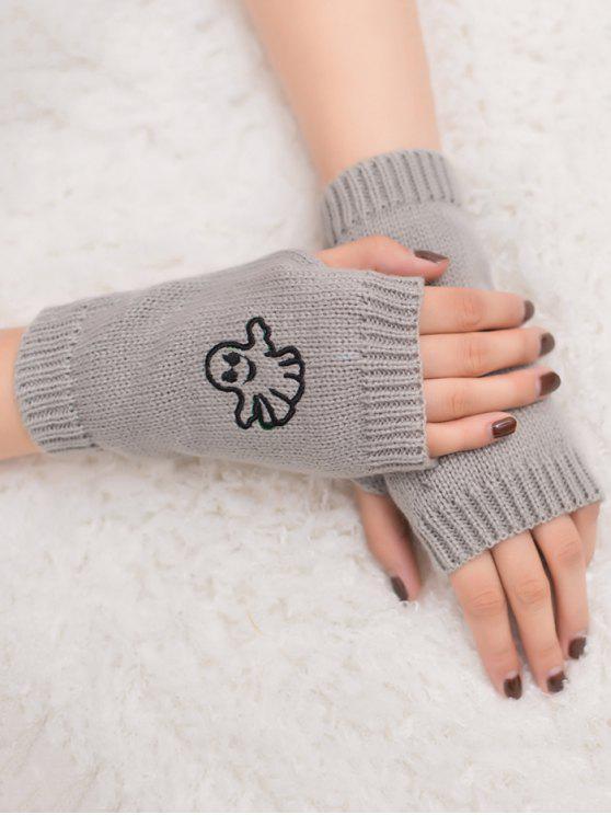 women's Halloween Ghost Fingerless Knitted Gloves - LIGHT GRAY