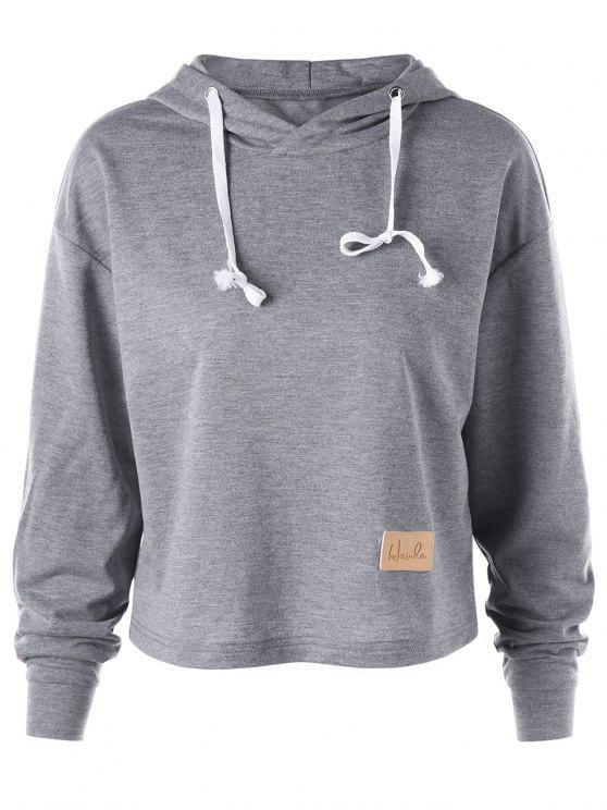 Crop Hoodie mit Drop Schulter - Grau XL