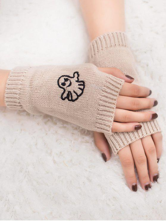 new Halloween Ghost Fingerless Knitted Gloves - BEIGE