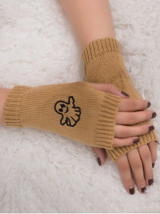 hot Halloween Ghost Fingerless Knitted Gloves - CAMEL