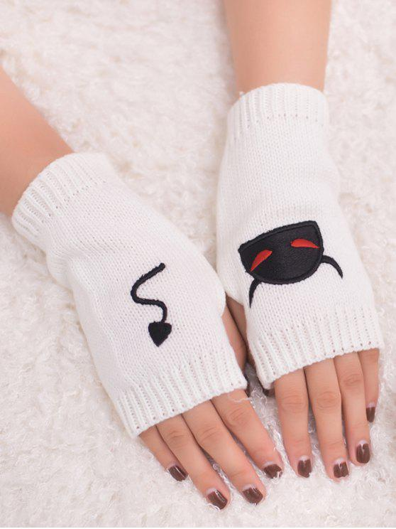 chic Halloween Devil Pattern Fingerless Knit Gloves - WHITE