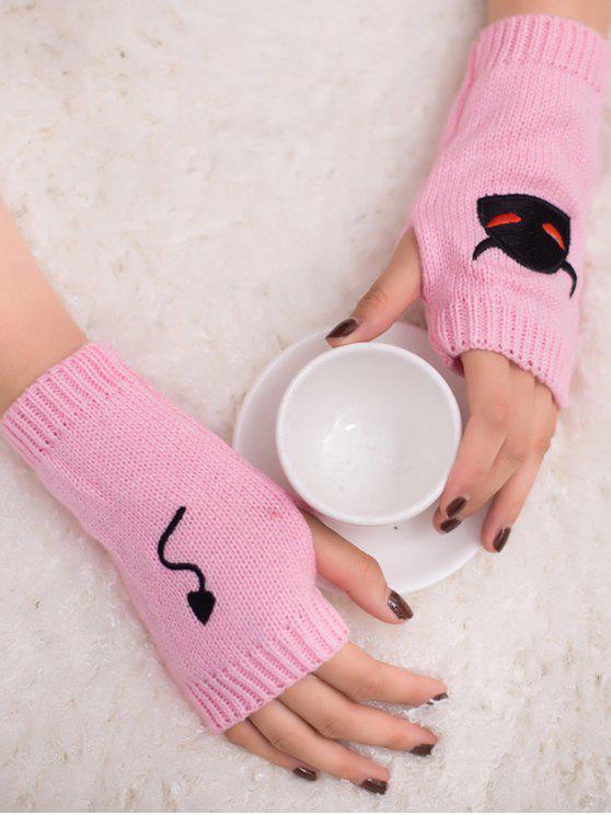 Gants en tricot sans doigts Halloween Devil Pattern - ROSE PÂLE