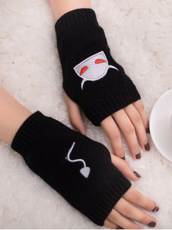 sale Halloween Devil Pattern Fingerless Knit Gloves - BLACK