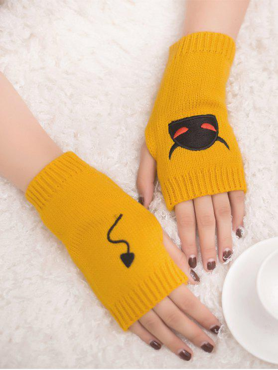 affordable Halloween Devil Pattern Fingerless Knit Gloves - YELLOW