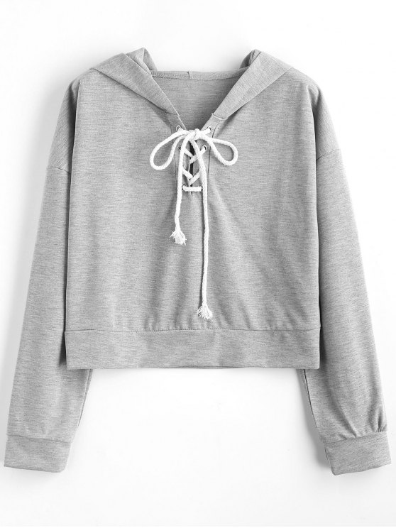 Drop Shoulder Lace Up sudadera con capucha - Gris S