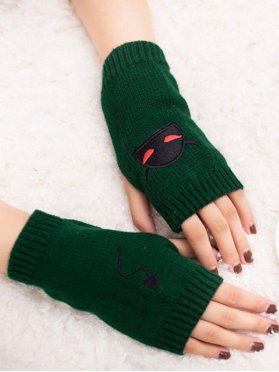 online Halloween Devil Pattern Fingerless Knit Gloves - BLACKISH GREEN