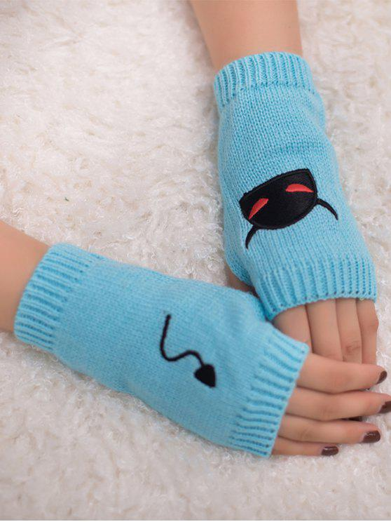 outfit Halloween Devil Pattern Fingerless Knit Gloves - LIGHT BLUE