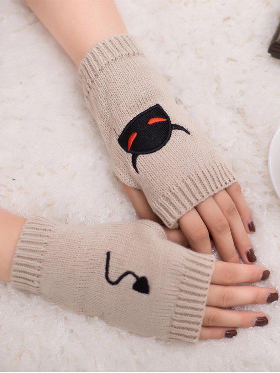Gants en tricot sans doigts Halloween Devil Pattern - Beige