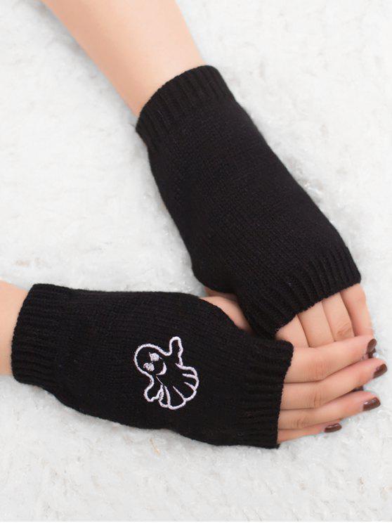 women Halloween Ghost Fingerless Knitted Gloves - BLACK