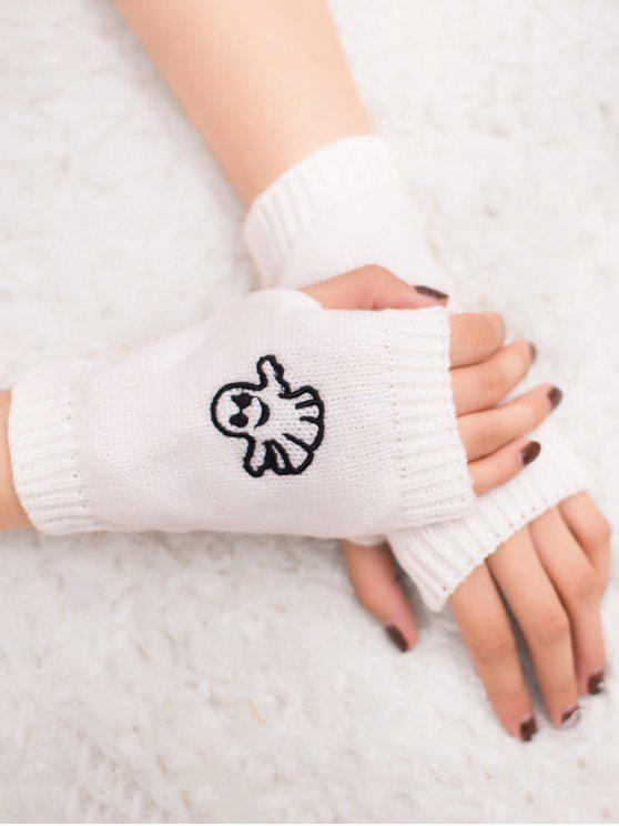 women's Halloween Ghost Fingerless Knitted Gloves - WHITE