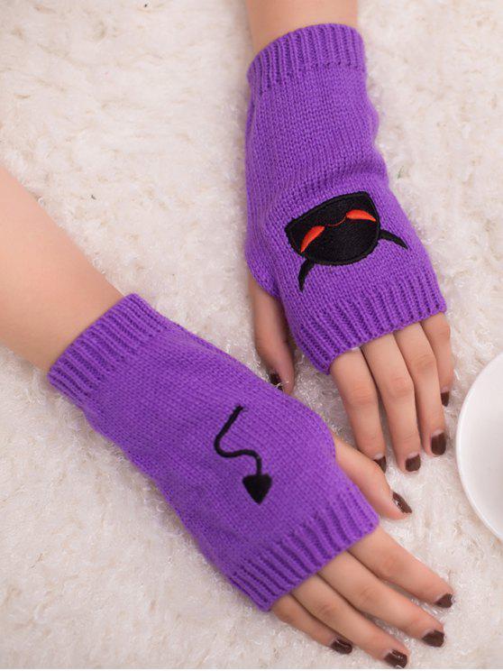 outfit Halloween Devil Pattern Fingerless Knit Gloves - PURPLE