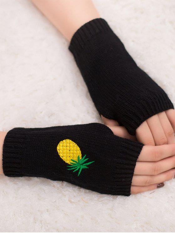 outfits Halloween Pineapple Embroidery Fingerless Knit Gloves - BLACK