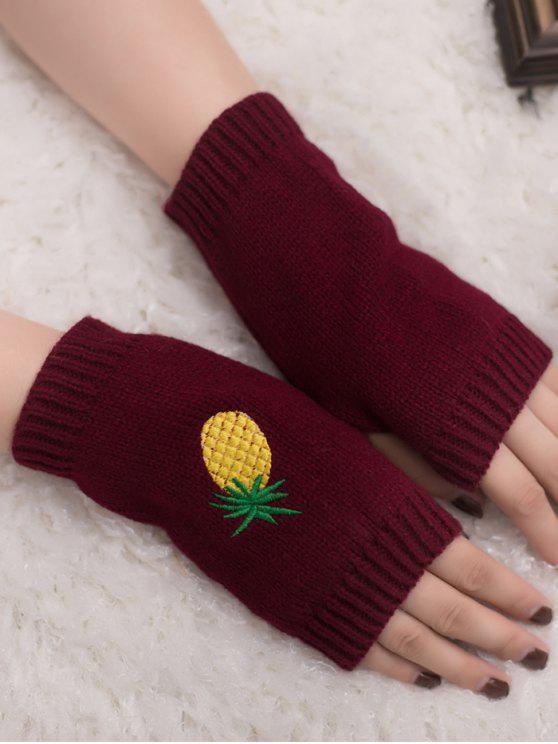 chic Halloween Pineapple Embroidery Fingerless Knit Gloves - WINE RED