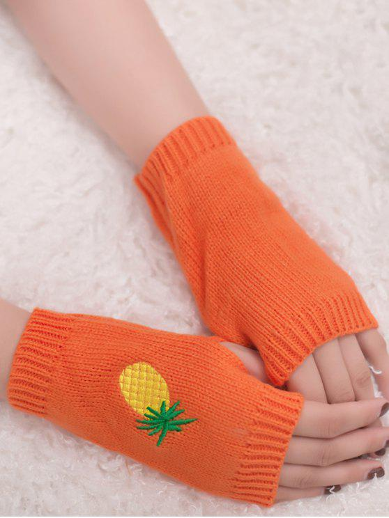 Gants en tricot Fingerless à la broderie à l'ananas Halloween - Orange Sombre