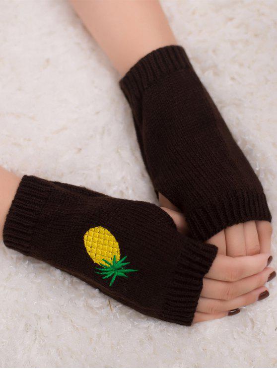 Gants en tricot Fingerless à la broderie à l'ananas Halloween - café