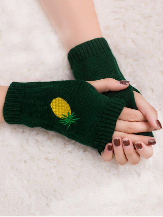 buy Halloween Pineapple Embroidery Fingerless Knit Gloves - BLACKISH GREEN