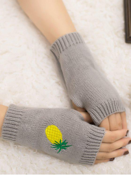 womens Halloween Pineapple Embroidery Fingerless Knit Gloves - LIGHT GRAY