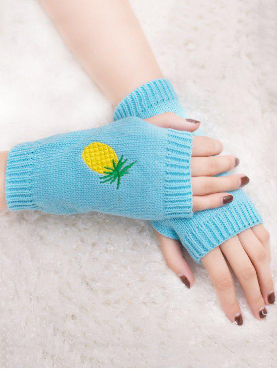 women's Halloween Pineapple Embroidery Fingerless Knit Gloves - LIGHT BLUE