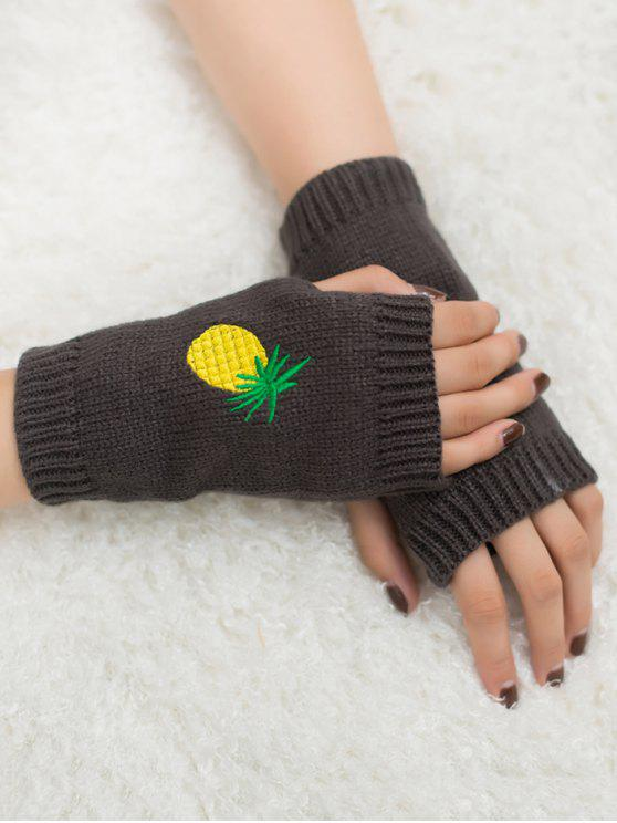 ladies Halloween Pineapple Embroidery Fingerless Knit Gloves - DEEP GRAY