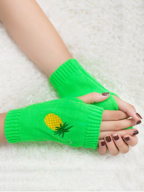 outfits Halloween Pineapple Embroidery Fingerless Knit Gloves - NEON GREEN