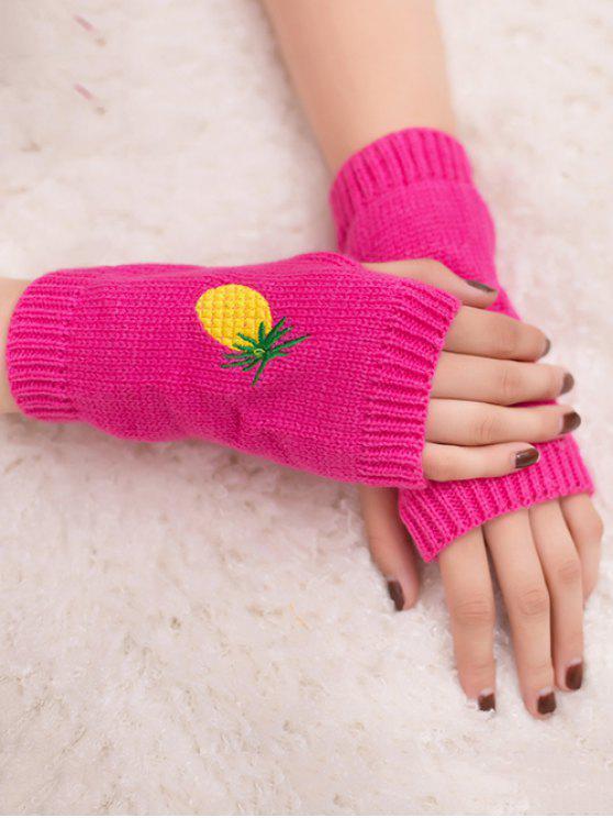 Gants en tricot Fingerless à la broderie à l'ananas Halloween - Rouge rose fluorescent