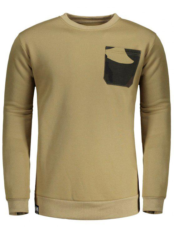 fashion Fleece Front Pocket Crew Neck Sweatshirt - KHAKI L