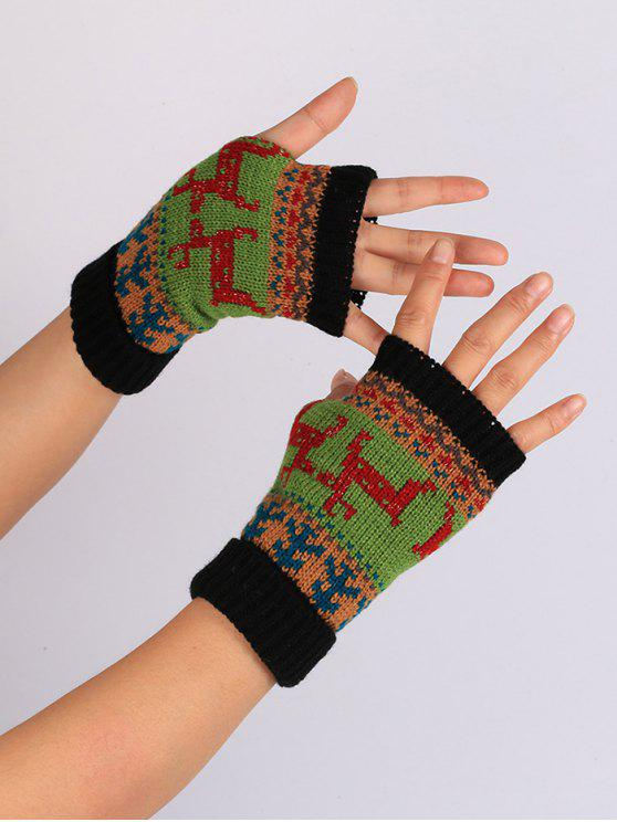 fancy Christmas Deer Embroidery Flanging Fingerless Gloves - BLACK
