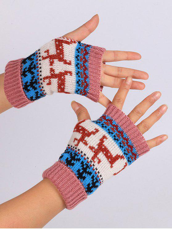 unique Christmas Deer Embroidery Flanging Fingerless Gloves - PEONY PINK