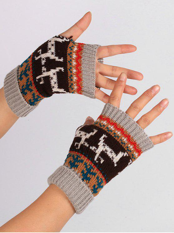sale Christmas Deer Embroidery Flanging Fingerless Gloves - LIGHT GRAY