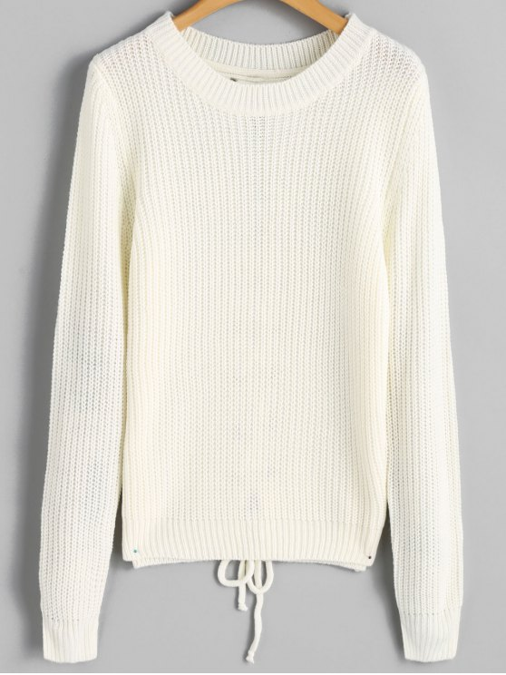 women's Ribbed Back Lace Up Sweater - OFF-WHITE ONE SIZE