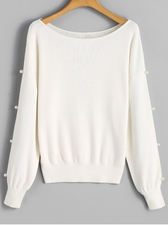 womens Faux Pearl Slit Sleeve Sweater - WHITE ONE SIZE