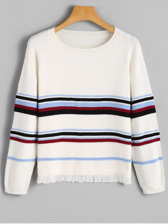 ladies Striped Frayed Hem Sweater - WHITE M