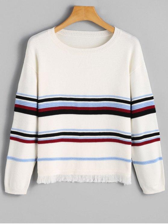 Suéter con rayas - Blanco M