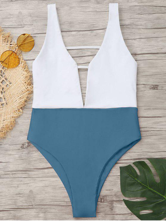 ladies High Cut Two Tone One Piece Swimwear - BLUE GRAY M