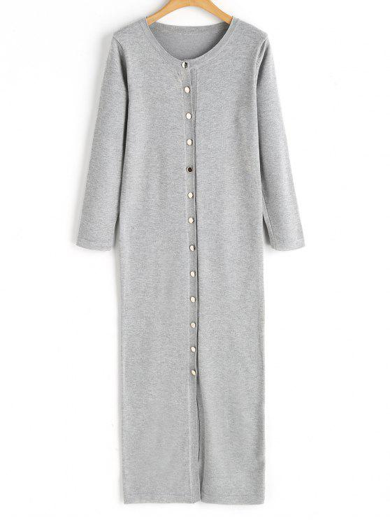 chic Button Up Sweater Dress - GRAY ONE SIZE
