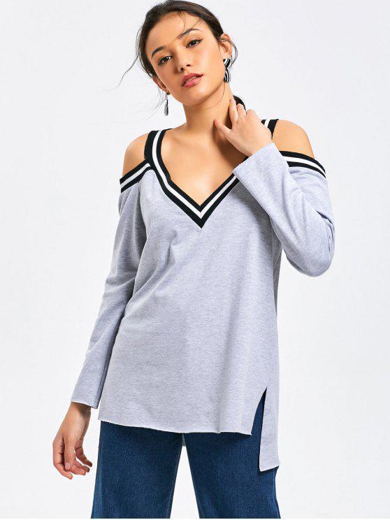 Sweatshirt mit V-Ausschnitt, Seitenschlitz und Kalter Schulter - Grau M