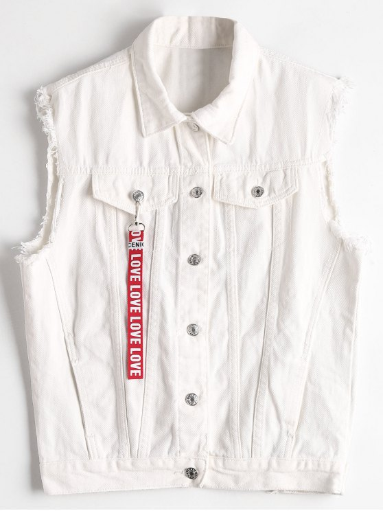 latest Frayed Hem Letter Embroidered Waistcoat - WHITE ONE SIZE