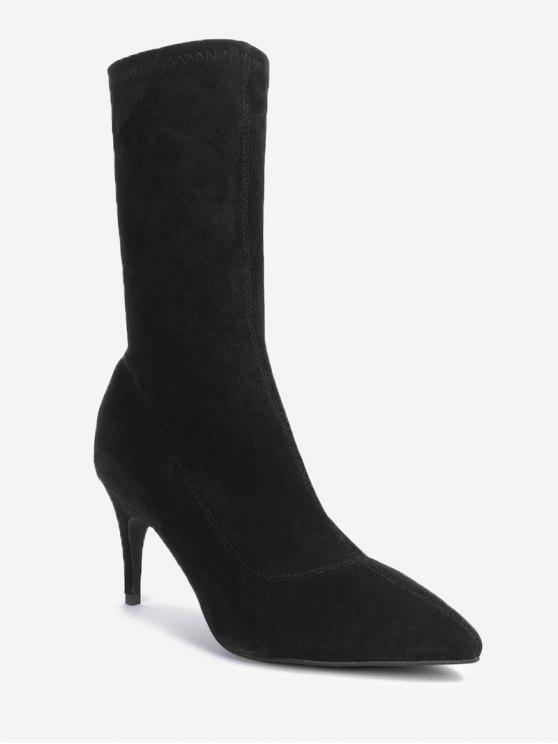 Pointe Toe Stiletto Mid Calf Boots - Noir 39